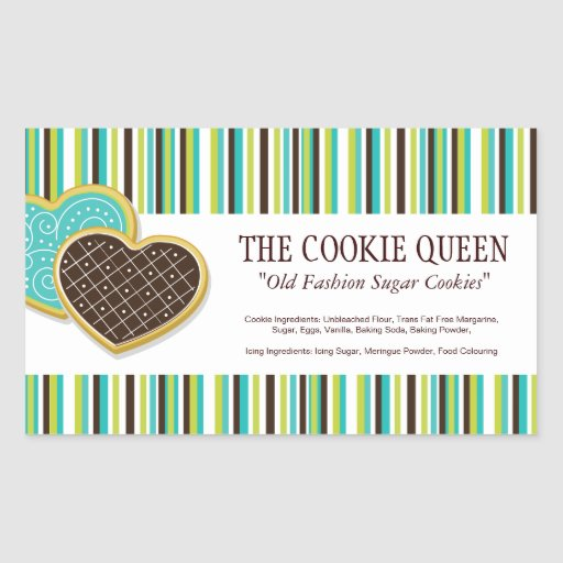 Decorative Bakery Ingredient Labels Rectangle Sticker