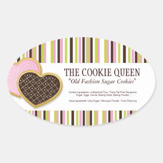 Decorative Bakery Ingredient Labels Oval Sticker