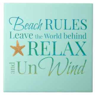 Decorative Beach Rules Tile