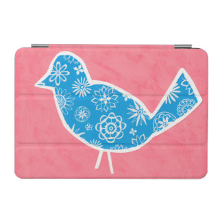 Decorative Bird with Patterns on Pink Background iPad Mini Cover