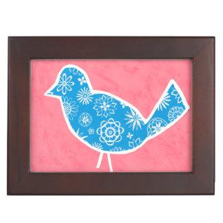 Decorative Bird with Patterns on Pink Background Keepsake Box