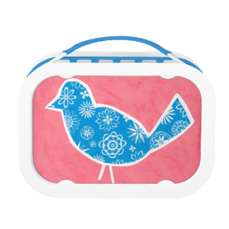 Decorative Bird with Patterns on Pink Background Lunch Box