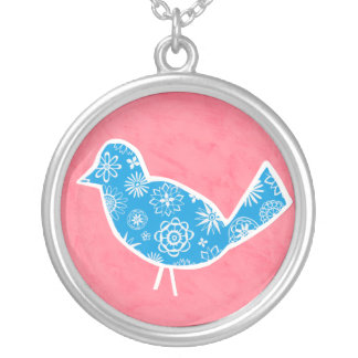 Decorative Bird with Patterns on Pink Background Silver Plated Necklace