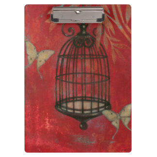 Decorative Birdcage with Butterflies Clipboard