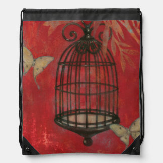 Decorative Birdcage with Butterflies Drawstring Bag