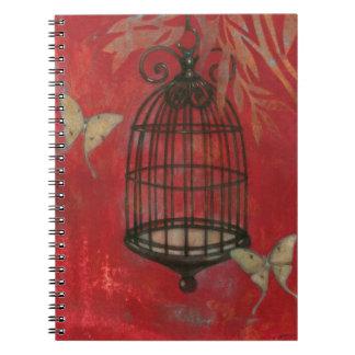 Decorative Birdcage with Butterflies Spiral Notebooks