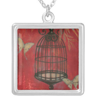 Decorative Birdcage with Butterflies Silver Plated Necklace