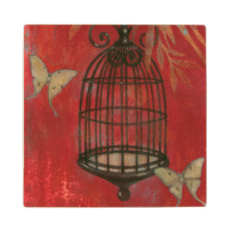 Decorative Birdcage with Butterflies Wood Coaster