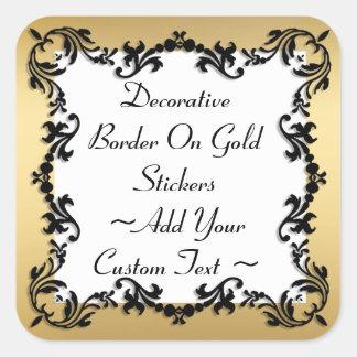 Decorative Black Border On Gold Sticker