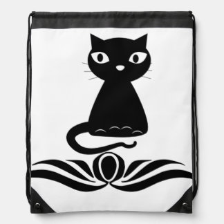 Decorative Black Cat Drawstring Bag