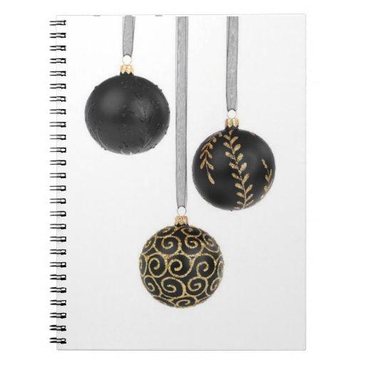 Decorative Black Christmas Balls Note Book