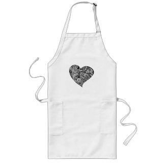 Decorative Black Heart Long Apron