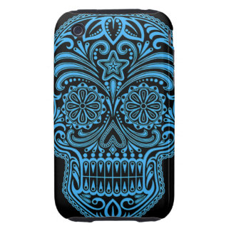 Decorative Blue and Black Sugar Skull Tough iPhone 3 Covers