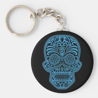 Decorative Blue and Black Sugar Skull Key Ring