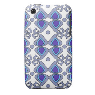 Decorative Blue And Gray Paisley Pattern iPhone 3 Case