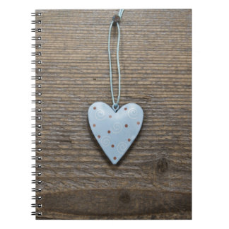 Decorative Blue Hanging Heart Rustic Wood Notebook