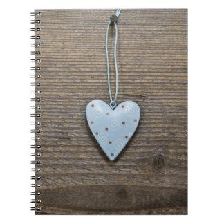 Decorative Blue Hanging Heart Rustic Wood Notebooks