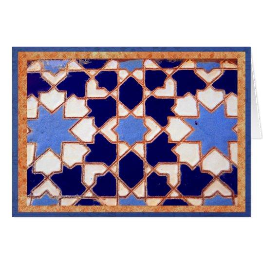 Decorative blue Spanish tiles. Card