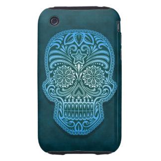 Decorative Blue Sugar Skull Tough iPhone 3 Covers