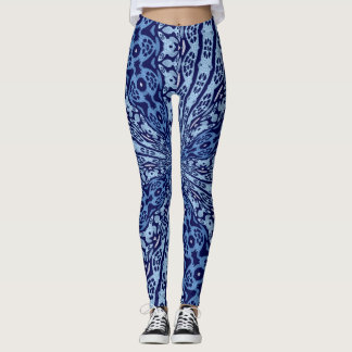Decorative Blue Tribal Leopard Leggings