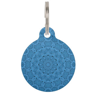 Decorative Blue Vintage Kaleidoscope Dog Cat Tags