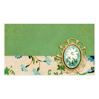 DECORATIVE BROOCH BLUE FLOWERS TURQUOISE GREEN YEL PACK OF STANDARD BUSINESS CARDS
