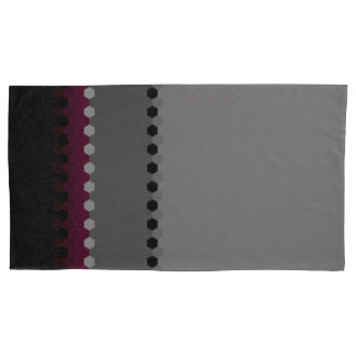 Decorative Burgundy Grey Black Dot Pattern Pillowcase
