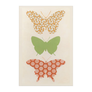 Decorative Butterfly Patterns on Cream Background Acrylic Wall Art
