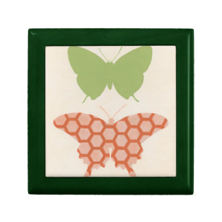 Decorative Butterfly Patterns on Cream Background Jewelry Box
