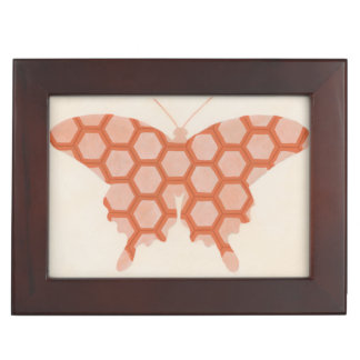 Decorative Butterfly Patterns on Cream Background Keepsake Box