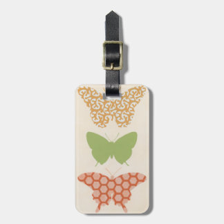 Decorative Butterfly Patterns on Cream Background Luggage Tag