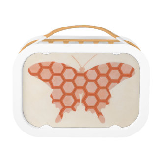 Decorative Butterfly Patterns on Cream Background Lunch Box