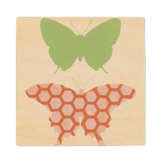 Decorative Butterfly Patterns on Cream Background Wood Coaster