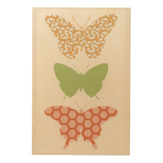 Decorative Butterfly Patterns on Cream Background Wood Wall Art