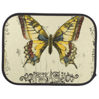 Decorative Butterfly with Wildflowers Car Mat
