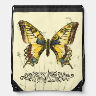 Decorative Butterfly with Wildflowers Drawstring Bag