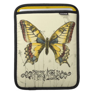 Decorative Butterfly with Wildflowers iPad Sleeve