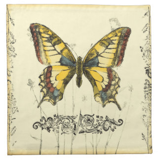 Decorative Butterfly with Wildflowers Napkin
