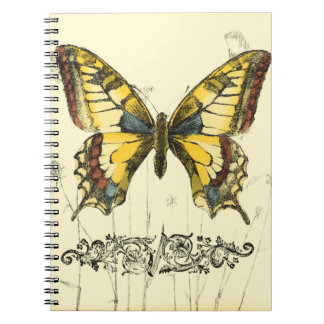 Decorative Butterfly with Wildflowers Spiral Notebooks