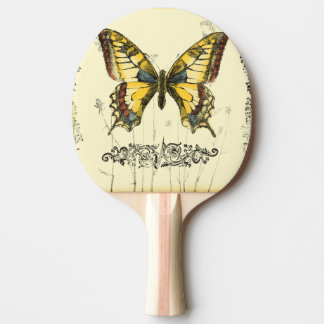 Decorative Butterfly with Wildflowers Ping Pong Paddle