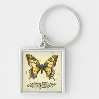 Decorative Butterfly with Wildflowers Silver-Colored Square Key Ring