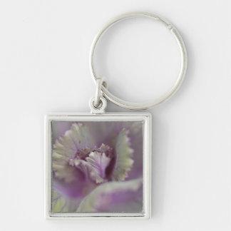 Decorative cabbage Silver-Colored square key ring