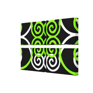 Decorative Chartreuse and Black Wrapped Canvas Wal Canvas Prints