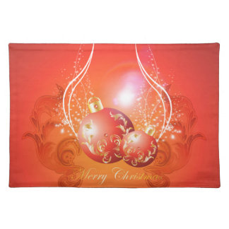 Decorative christmas balls in gold and red cloth placemat
