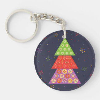 Decorative Christmas fir tree Double-Sided Round Acrylic Key Ring