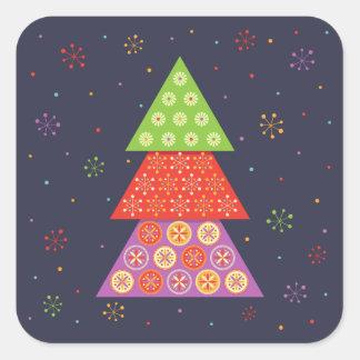 Decorative Christmas fir tree Square Sticker