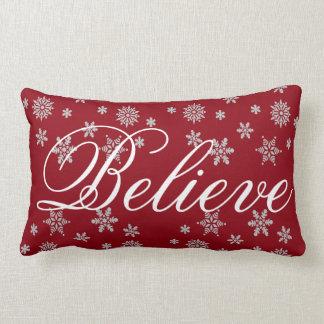 Decorative Christmas Snowflake Believe Holiday Lumbar Cushion