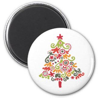 Decorative Christmas Tree 6 Cm Round Magnet