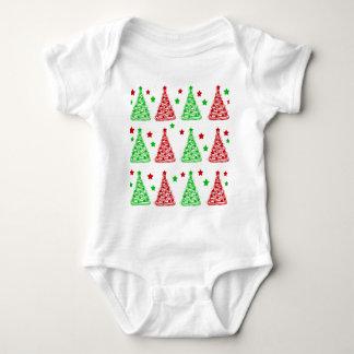 Decorative Christmas tree pattern - white Baby Bodysuit