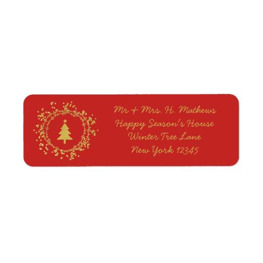 Decorative Christmas Tree Return Address Label